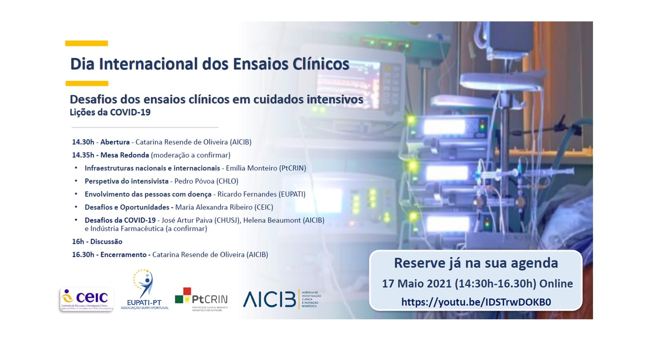 """""""Desafios dos ensaios clínicos em cuidados intensivos – Lições da COVID-19″ – mesa redonda"""