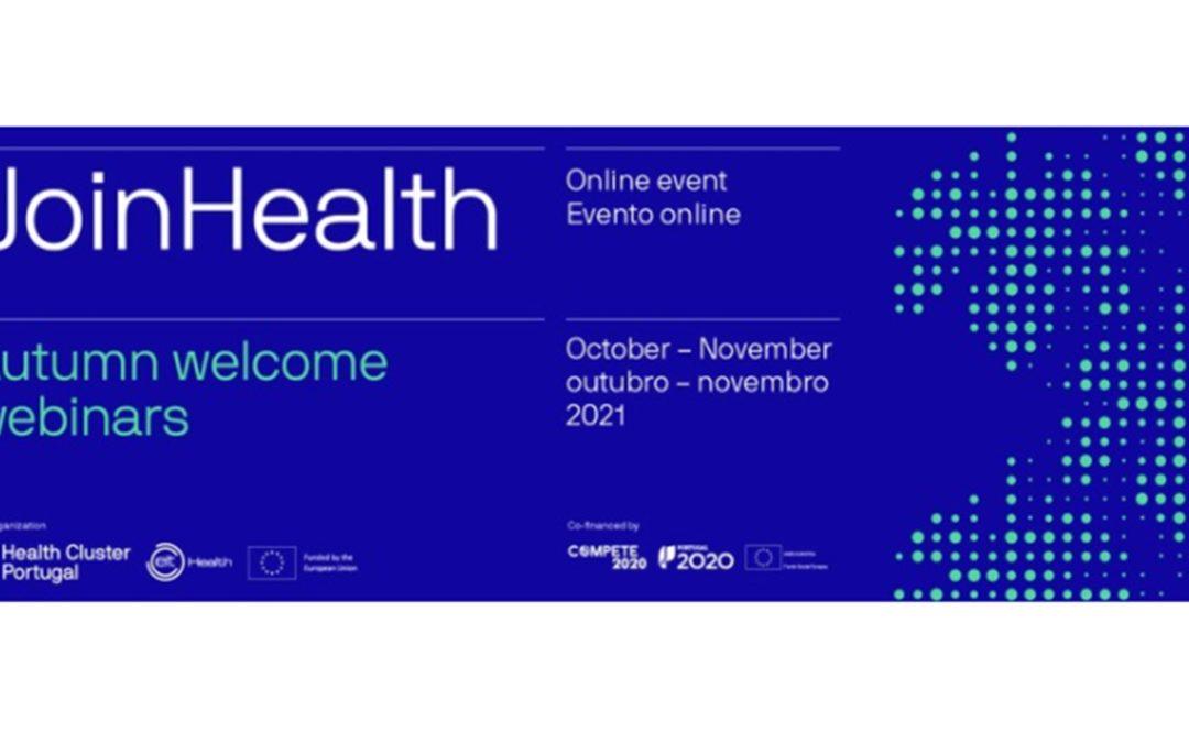 "Terceira edição dos webinars JoinHealth ""JoinHealth – Autumn welcome webinars 2021"""